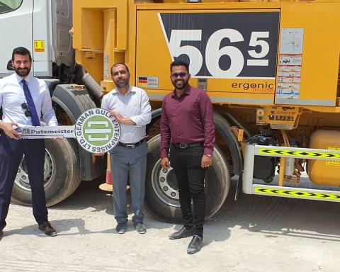 German Gulf Enterprises delivers Putzmeister BSF 56-5 truck mounted concrete pump to Al Hamra Readymix